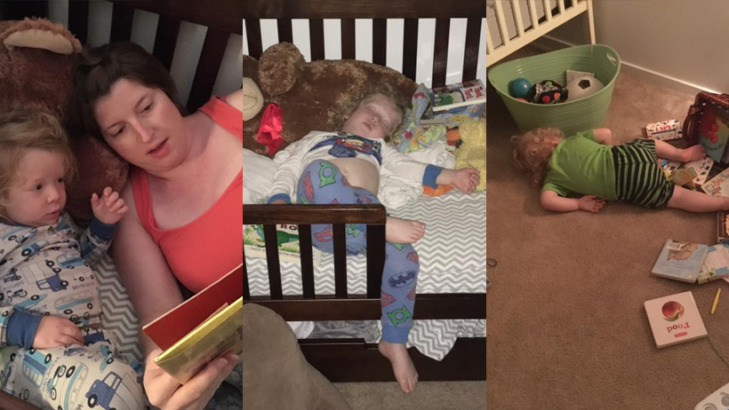 Toddler Tries a Bed photo